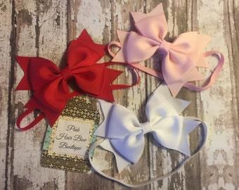 baby headband lot, bundle and save , red pink white , newborn - toddler