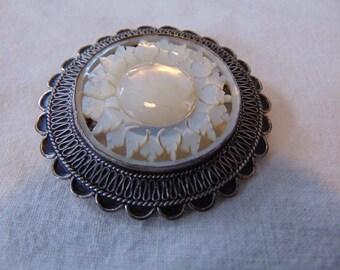 vintage sterling mother of pearl brooch signed maker