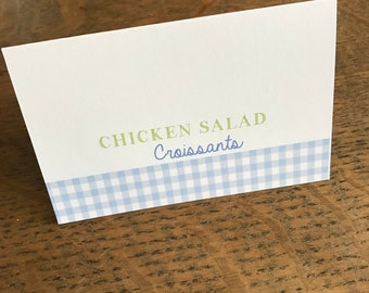 Periwinkle/Green Gingham Food Tent Labels