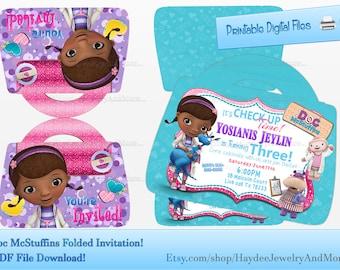 Doc McStuffins Folded Doctor Bag Invitation-Birthday Invitation-Doc Mcstuffins Party Printables