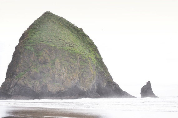 Beach Photography Print Fine Art Oregon Pacific Northwest Haystack Rock Ocean Rustic Coast Spring Landscape Photography Print.