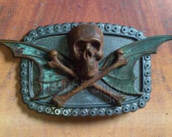 Goth  Skull w Bat Wings Belt Buckle