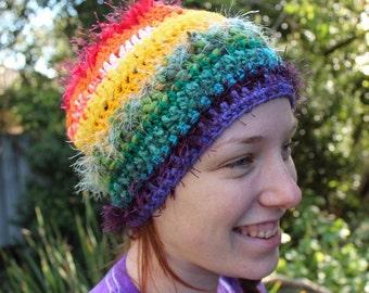 Crochet Rainbow Adults Beanie
