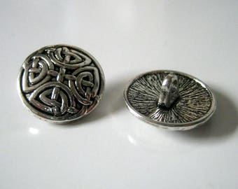 6 Knot Antique Silver Metal Shank Buttons 17mm