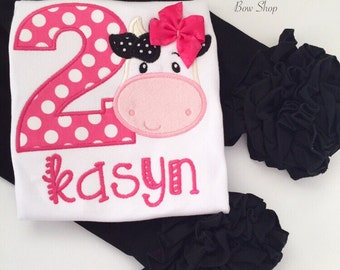 Cow Birthday shirt or bodysuit for girls -- Udderly Adorable -- sweet cow theme shirt for girls in black, white and pink