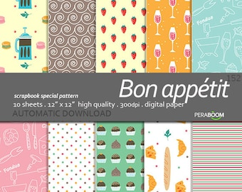 French food paper, Digital Food Paper, Food Scrapbook Paper, Food Paper, Food Scrapbooking Paper, Kitchen Paper, Chef Paper, French paper