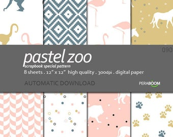 Baby Digital Paper Pastel Zoo in Blue with chevron, animal  patterns, Lion Flamingos Monkeys for Baby Showers, New Baby Scrapbook Commercial