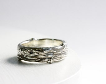 Mens Silver Branch Band Ring, Wide Mens Silver ring, Mens Wedding Ring, Mens Branch Ring-style 7