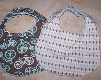 Boutique Handmade cotton and minky dot Baby boy Bibs