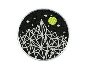 1pc Large Mountains and Night Sky Embroidered Applique Patch. Iron On or Sew On Badge for T-shirts, Jackets, Shirts. 8cm wide