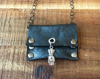 Cool Crystal Holder - Leather Jewelry - Metallic Grey - Talisman Pouch Necklace - Soft Leather - Amulet Bag Necklace