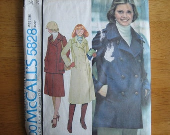 McCALL'S Pattern 5828 Misses' Coat or Jacket (with Choice of Pocket) and Skirt     1977      Uncut