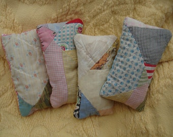 Old Quilt Lavender Sachet Set---Ready to ship---Set of 4---OOAK---Free Shipping