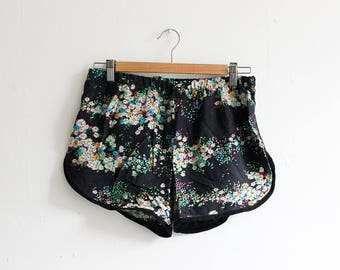vic & lily Salvaged Silk Floral Print Runner Shorts