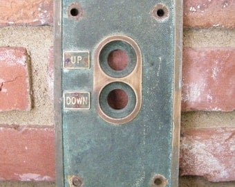 """Vintage Brass Elevator """"UP DOWN"""" Switch Button Panel Cover"""