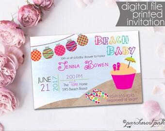 Beach Baby Shower Invitation   Summer Baby Shower   Girl Luau Baby Shower    Printable Invitation