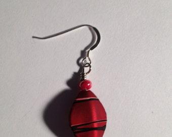 Stripes: Handmade Red Acrylic Earrings