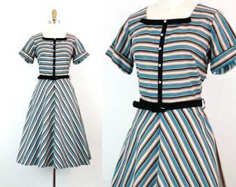 Vintage 1950s dress . January Blues . 1950s striped dress . blue striped party dress by Dawncrest . lg / large