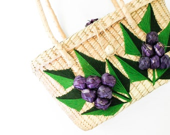 Vintage straw purse . Heard it on the Grape Vine . 1950s / 1960s straw purse . 1960s tourist purse . straw handbag