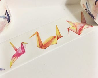 Gorgeous Watercolor Painted Blue Pink Yellow Orange Origami Crane Washi Tape 5.5 yards 5 meters 30mm