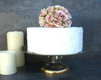 Vintage Pedestal Cake Stand, Wedding Cake Plate, Modern Glass and Gold, Glam Golden Anniversary