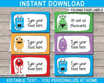Monster Food Labels - Monster Theme Party - Food Buffet Tag - Placecards - Printable Party Decorations - INSTANT DOWNLOAD with EDITABLE text