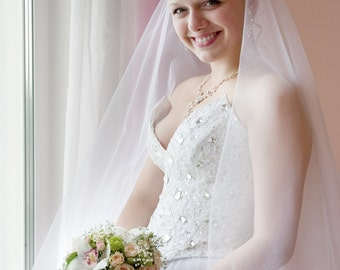 Long Bridal Drop Veil Model Anne