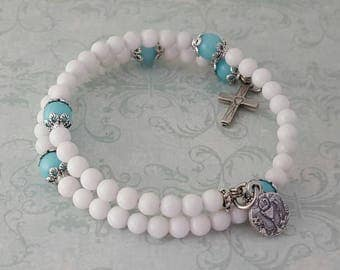 Communion Rosary Bracelet, White Mountain Jade, Aqua Marine Jade, Chalice, Heart Cross, Strong, Stainless Steel, Traditional,Gemstone Rosary