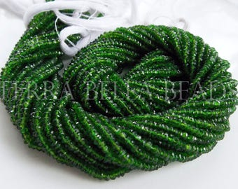 """13"""" strand rare AAA CHROME DIOPSIDE faceted gem stone rondelle beads 2.5mm - 3mm green"""