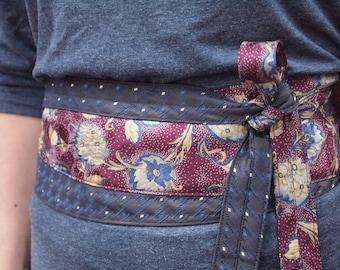 Feathered Flowers- Vintage Recycled Silk Ties Obi Corset Belt Burgundy Brown Blue