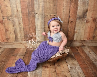 Mermaid Tail / Cocoon, Bikini Top and Headband with Starfish - Photo Prop - Available in Newborn to 12 Month Size