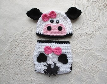 Crochet Cow or Bull Beanie Hat and Diaper Cover - Farm Animals - Photo Prop - Available 0 to 24 Month Size - Any Color Combination