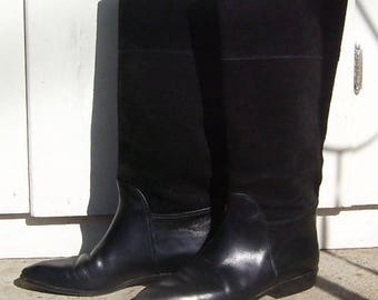 Black Suede Leather Knee High Boots ~ Saks Fifth Avenue ~ Made in Italy