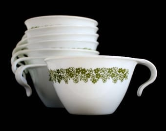 Corelle Crazy Daisy Coffee Cups Spring Blossom Set of 8 Hook Handle Stacking Mugs Livingware by Corning