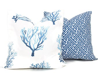Blue Coral Decorative Pillow Cover, 18x18, 20x20, 22x22 Eurosham, lumbar pillow Throw Pillow, Toss Accent Cushion Lacefield Textiles