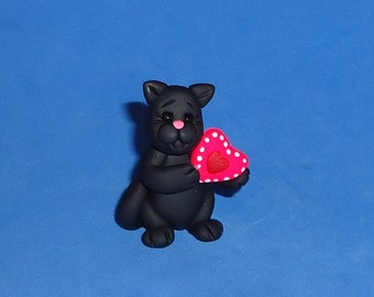 Polymer Clay Black Cat with Valentine Heart