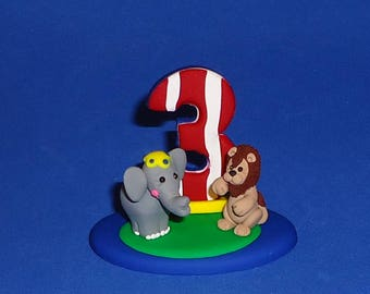 Polymer Clay Circus Theme Animals with Number Cake Topper