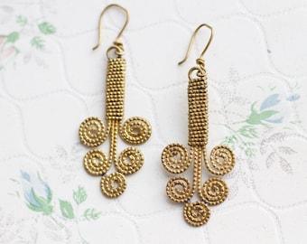 Brass Dangle Earrings - Boho Spirals - Primitive Jewelry