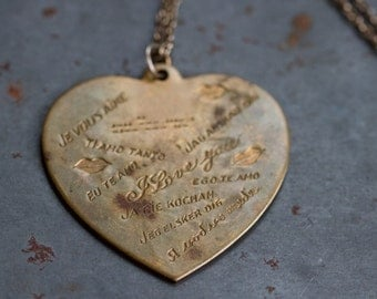 I Love You Brass Heart Necklace - in Every Language - International Love