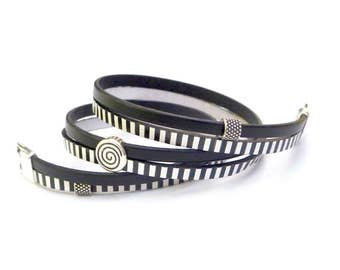 Black and White Striped Spiral, leather wrap bracelet, Whirly Wrap, round coil, square spiral, easy secure magnet, easy on and off