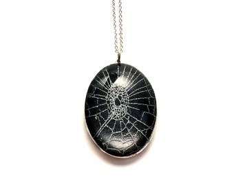 Real Spider Web Necklace Preserved in Oval Bubble Glass