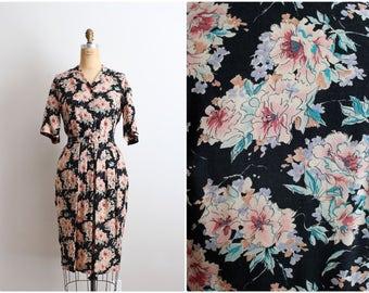 1970's does 1940's Black Floral Dress / Vintage Floral Rayon Dress / Wiggle Dress / Size M