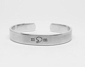 Hand Stamped Aluminum Cuff:  football mom bracelet by fandomonium designs