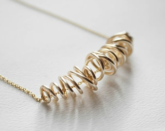 Gold Swirl Necklace - Hand Formed Gold Wire Statement Jewelry
