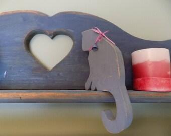 Wooden Cat Folk Art Womens gift