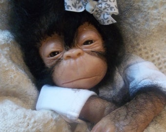 Custom made to order Reborn chimpanzee silicone ape monkey doll chimp gorilla baby Jala
