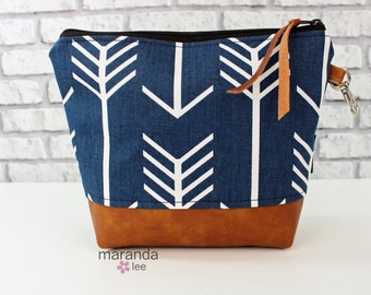 AVA Medium Clutch - Navy Arrows with PU Leather READY to SHIp Cosmetic bag Travel Make Up Zipper Pouch