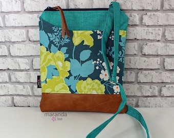 ZOE Messenger Cross Body Sling Bag  Teal Denim with Flora Eucalyptus  Pocket and PU Leather READY to SHIp