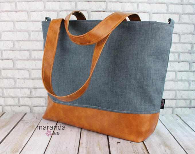 Extra Large Lulu Tote Overnight Diaper Bag - Blue Denim and PU Leather - READy to SHIP Zipper Closure Beach Dance Travel Bag 7 pockets