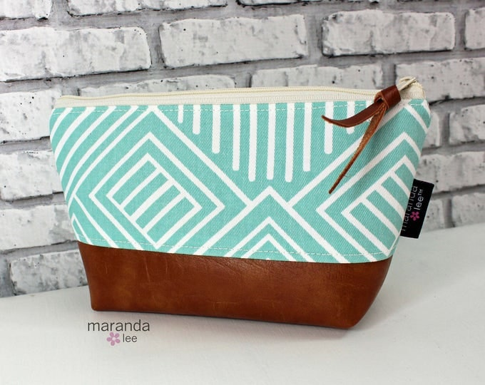 AVA Small Clutch - Canal Phase PU Leather   Cosmetic Toiletries bag Travel Make Up Zipper Pouch